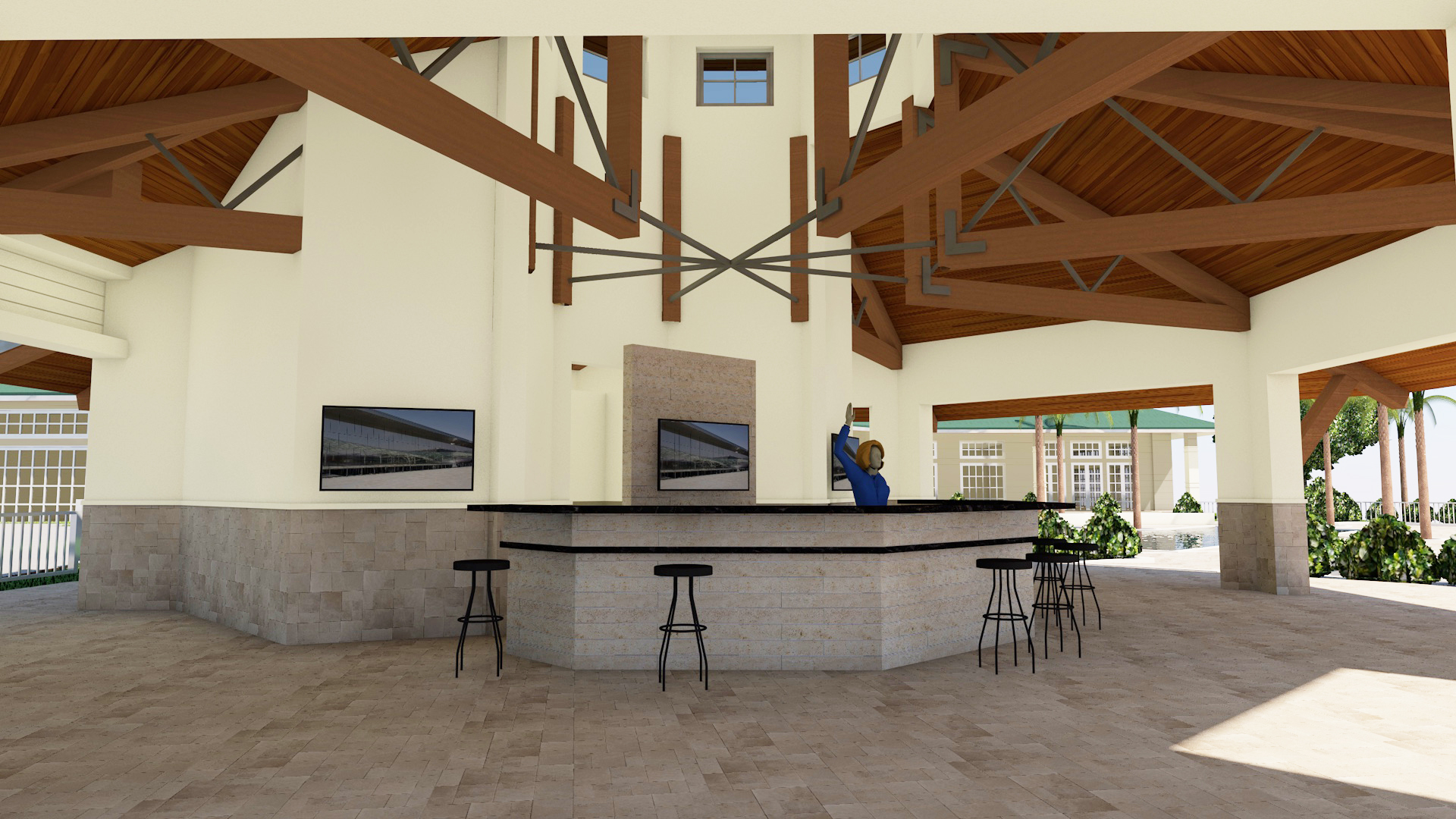Forest glen outdoor dining facility and pool deck for Gladstone builders